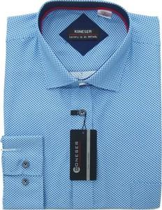 Niebieska koszula Koneser z długim rękawem z jedwabiu