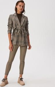 Brązowe legginsy Sinsay ze skóry ekologicznej w stylu casual