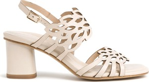 Złote sandały Tamaris ze skóry