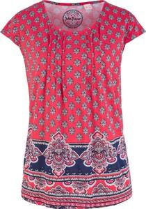 Różowy t-shirt bonprix John Baner JEANSWEAR z okrągłym dekoltem z krótkim rękawem