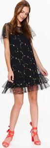 Czarna sukienka Top Secret z tiulu mini z krótkim rękawem