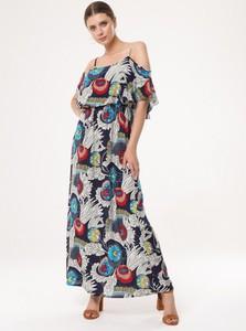 Sukienka born2be z nadrukiem maxi w stylu boho
