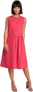 Różowa sukienka Be midi z tkaniny