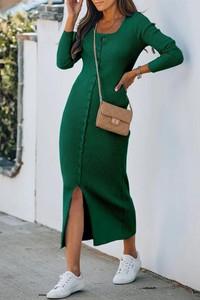 Zielona sukienka IVET z dresówki z długim rękawem z dekoltem w kształcie litery v