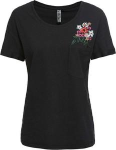 Czarny t-shirt bonprix RAINBOW z krótkim rękawem z okrągłym dekoltem w stylu casual