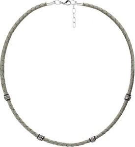 Manoki WA462S szary naszyjnik męski rzemień, beads