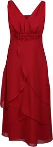 Czerwona sukienka Fokus z tkaniny w stylu glamour asymetryczna
