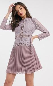 Sukienka Asos koszulowa z długim rękawem mini
