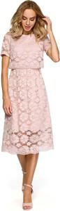 Różowa sukienka MOE z krótkim rękawem midi