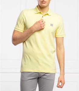 Żółta koszulka polo Hugo Boss z bawełny z krótkim rękawem w stylu casual