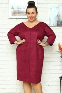 Czerwona sukienka KARKO z długim rękawem z zamszu