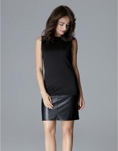 Czarna sukienka LENITIF ze skóry bez rękawów