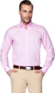 Różowa koszula LANCERTO z klasycznym kołnierzykiem z długim rękawem