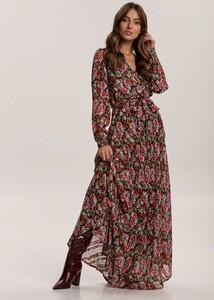 Sukienka Renee maxi z długim rękawem z dekoltem w kształcie litery v