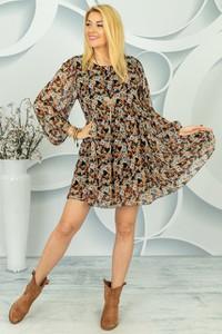Sukienka Made in Italy z długim rękawem z jedwabiu w stylu casual