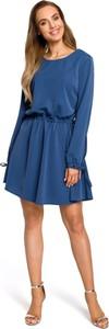 Niebieska sukienka MOE z okrągłym dekoltem z tkaniny z długim rękawem