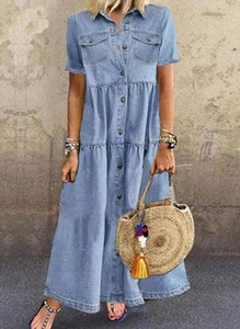 Sukienka Cikelly maxi z krótkim rękawem z jeansu