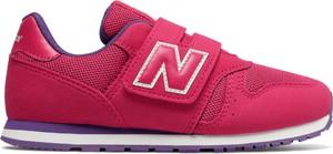 Czerwone buty sportowe dziecięce New Balance z zamszu na rzepy