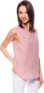 Różowa bluzka Hilfiger Denim z dekoltem w kształcie litery v