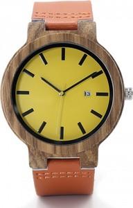 Zegarek drewniany BOBO BIRD na pomarańczowym pasku