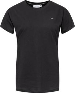 Czarny t-shirt Calvin Klein w stylu casual z okrągłym dekoltem z krótkim rękawem