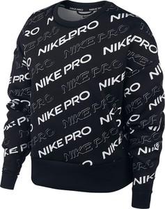Czarna bluzka Nike z okrągłym dekoltem z długim rękawem w sportowym stylu