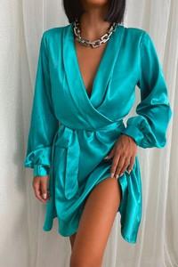 Turkusowa sukienka IVET mini w stylu casual z długim rękawem