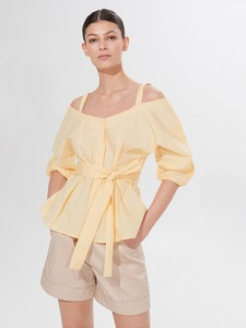 Żółta bluzka Mohito z długim rękawem w stylu casual