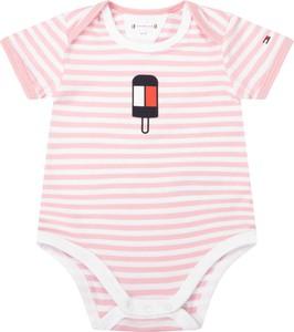 Różowe body niemowlęce Tommy Hilfiger dla dziewczynek w paseczki