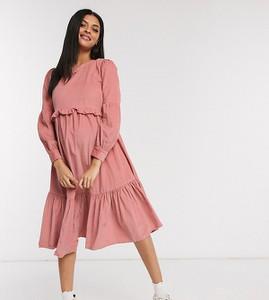Różowa sukienka Asos w stylu boho ze sztruksu