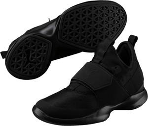 Czarne buty sportowe Puma w sportowym stylu na rzepy