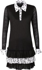 Czarna sukienka byCabo z moheru koszulowa z długim rękawem