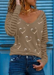 Bluzka Sandbella z długim rękawem z dekoltem w kształcie litery v w stylu casual