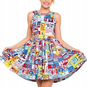 Sukienka Inna bez rękawów rozkloszowana z okrągłym dekoltem