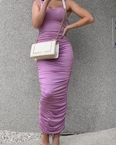 Fioletowa sukienka Kendallme dopasowana na ramiączkach