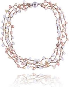 POLSKA Komplet biżuterii Glamour złoty jasny beż: naszyjnik i kolczyki