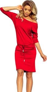 Czerwona sukienka NUMOCO sportowa z długim rękawem mini