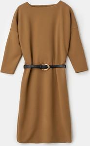 Brązowa sukienka Mohito z długim rękawem mini