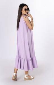 Fioletowa sukienka Ptakmoda.com oversize z długim rękawem z tkaniny