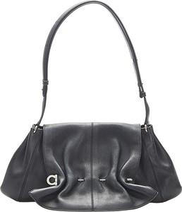 Czarna torebka Salvatore Ferragamo Vintage średnia matowa na ramię