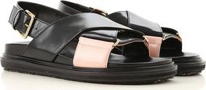 Czarne sandały Marni ze skóry w stylu casual