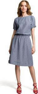 Sukienka MOE z tkaniny z okrągłym dekoltem