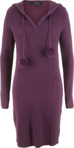 Sukienka bonprix bpc bonprix collection z długim rękawem bez wzorów midi