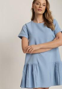 Niebieska sukienka Renee z okrągłym dekoltem mini z krótkim rękawem