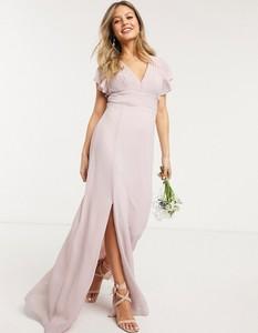 Różowa sukienka Tfnc maxi z dekoltem w kształcie litery v