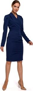 Niebieska sukienka MOE ołówkowa z długim rękawem z dekoltem w kształcie litery v