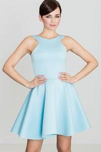 Miętowa sukienka LENITIF rozkloszowana mini bez rękawów