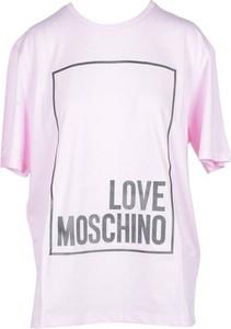 Różowy t-shirt Love Moschino z bawełny z okrągłym dekoltem z krótkim rękawem
