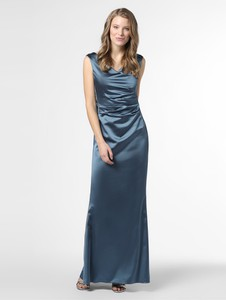 Sukienka Vera Mont Collection z satyny z okrągłym dekoltem