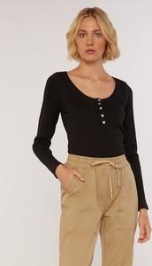 Czarna bluzka FEMESTAGE Eva Minge w stylu casual z długim rękawem